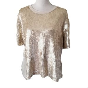 Chan Luu Dulce Sequin Blouse Top Size Small S Gold